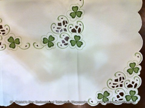 High Quality St. Patricku0027s Day Embroidered Tablecloth Shamrocks