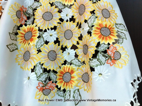 Sun Flower EMB Tablecloth
