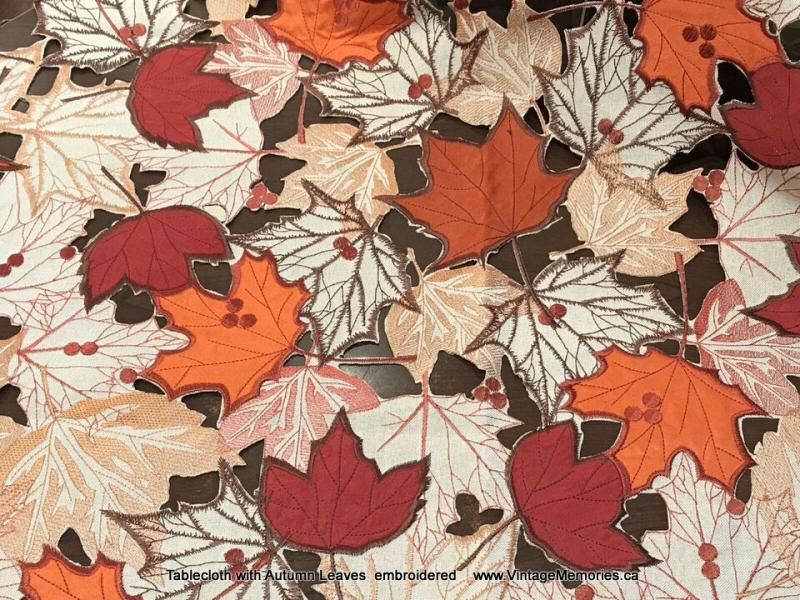 Tablecloth with Autumn Leaves  embroidered