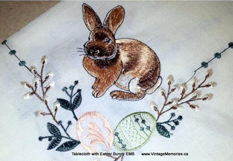 Tablecloth with Easter Bunny EMB
