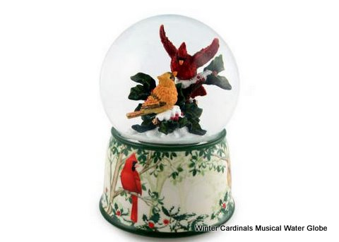Winter Cardinals water globe