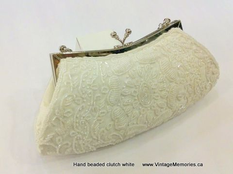 Hand beaded clutch white