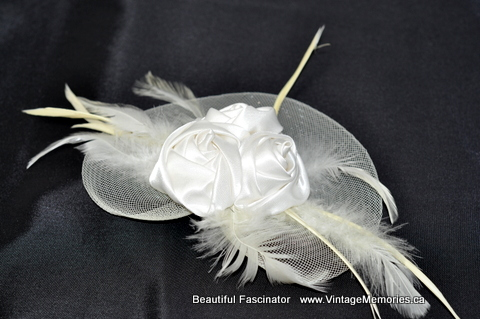 beautiful_Fascinator_hair clip white_