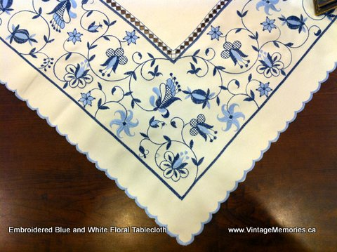 Blue White Embroidered Tablecloth