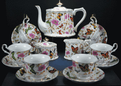 butterfly fine porcelain tea set