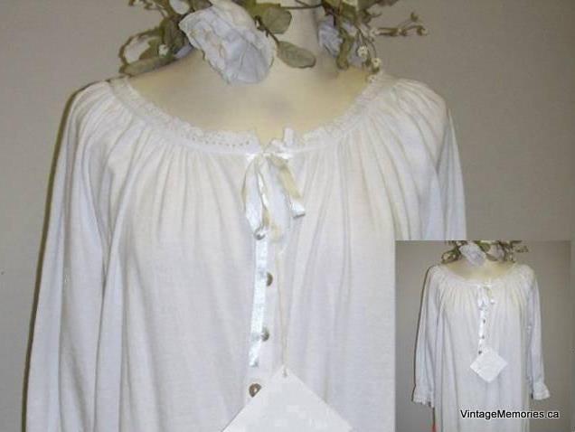 cotton long sleeves nightgown