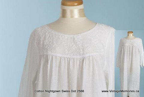 cotton nightgown Swiss Dot 2566
