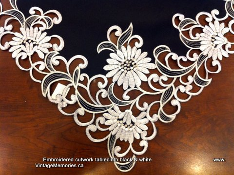 embroidered cutwork tablecloth blk white