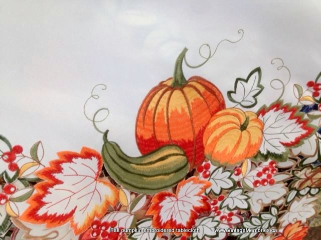 Fall pumpkin embroidered tablecloth