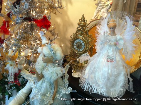 fiber optic angel tree topper with brass clock