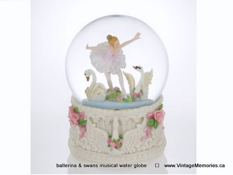 ballerina & swans, blowing glitter musical water globe