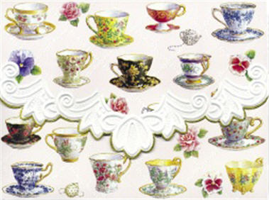 greeting note card tea cups