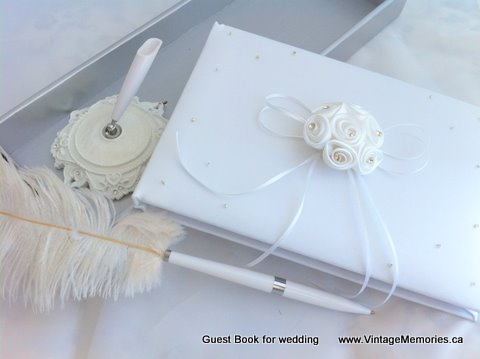 guest book for wedding ecru