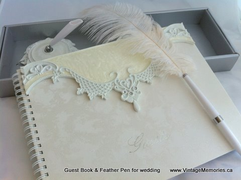 guest book feather pen for wedding.