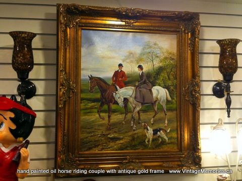 hand painted oil horse riding couple with antique gold frame