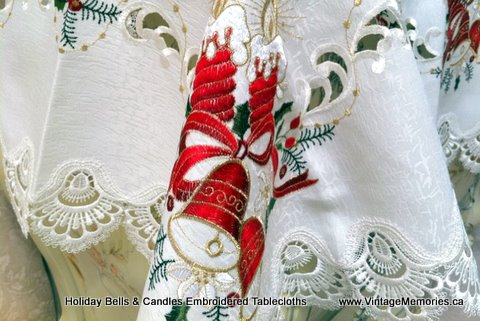 holiday bells candles embroidered tablecloths