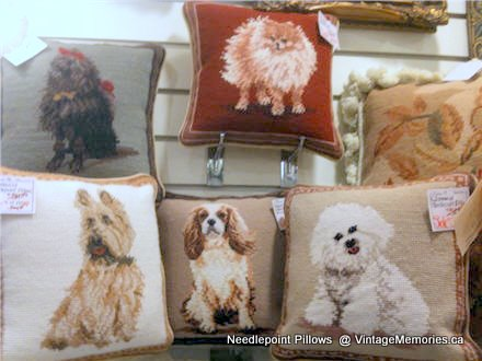 needlepoint dog pillows 10 inch