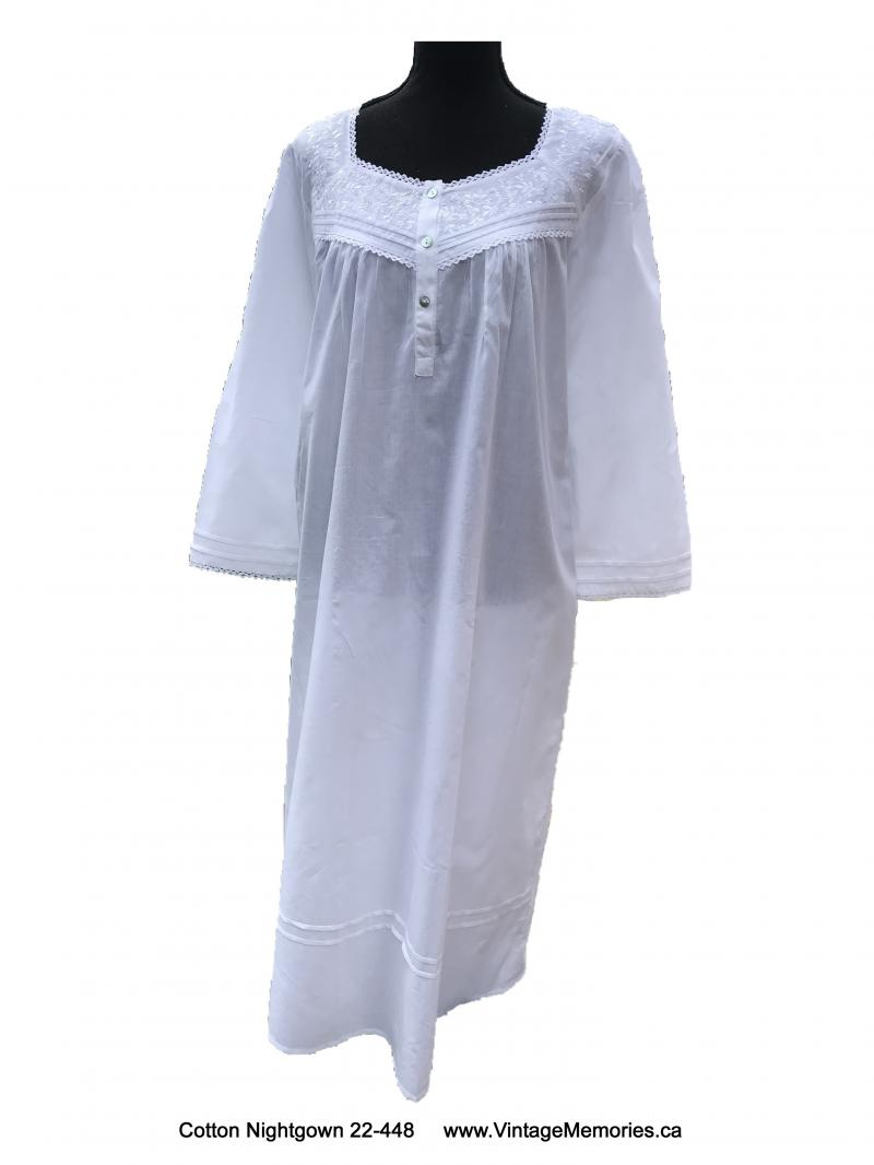 Vintage white embroidered long nightgown comfortable home sleep dress size L