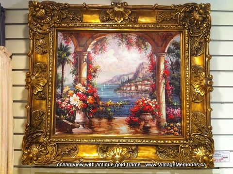 ocean garden view with antique gold frame