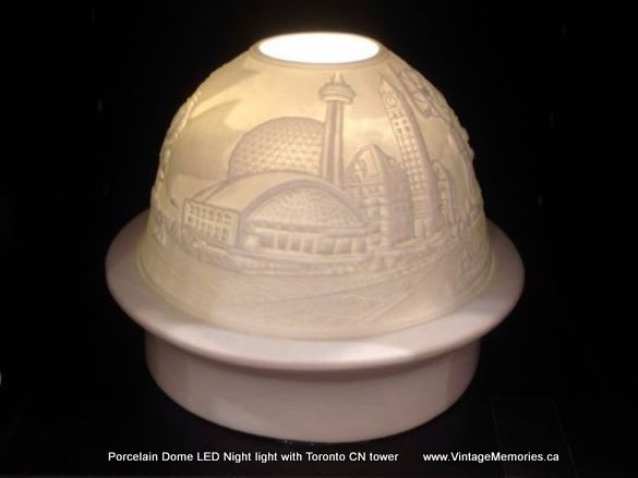 Porcelain Dome LED Night light with Toronto CN tower