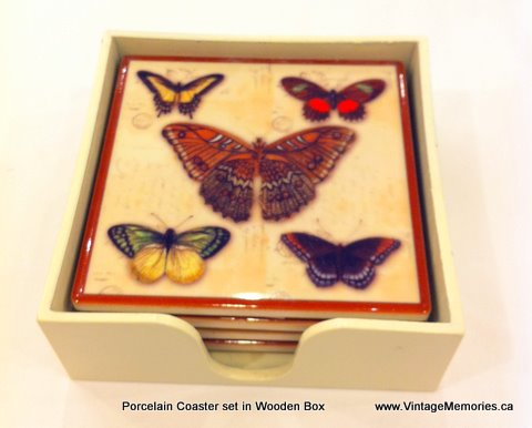 porcelain coaster set butterfly.