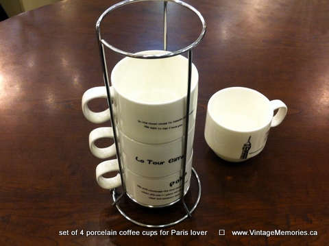 porcelain coffee cups for Paris lover