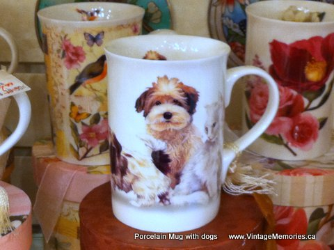 porcelian mug dog