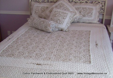 Cotton Patchwork & Embroidered Quilt 0953